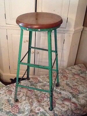 "Vintage Tall 31"" Wood / Green Metal Stool - 14"" Round Wood Seat - Very Good"
