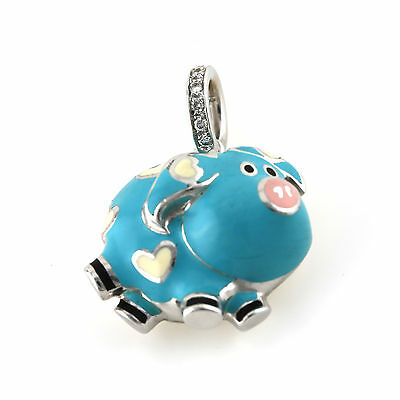 Aaron Basha baby blue Enamel Diamond pig with hearts Pendant 18kt White Gold