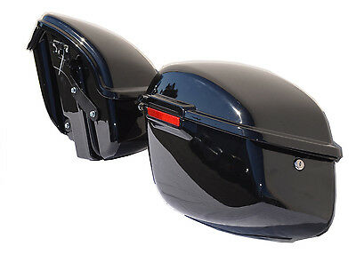 ABS Hard Saddlebags Gloss Black w/Mounting Brackets for Harley Dyna & Wide-Glide