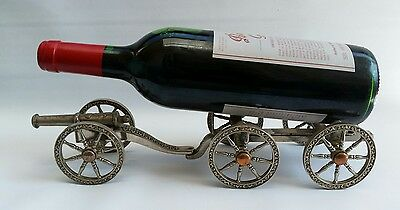 Vtg Silver Plated Military Cannon & Carriage Wine Bottle Holder Table Ornament