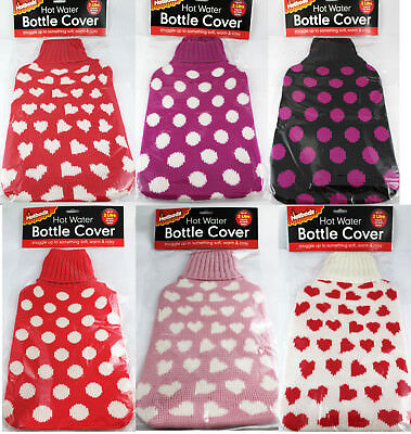 Hot Water Bottle Cover Knitted Polka Dot Love Heart Fleece For 2 Litre Bottles