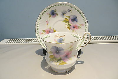 Queen's Rosina China Cup And Saucer Special Flowers August Pansy Free Uk P&p