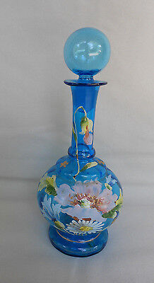 Antique Victorian Peacock Aqua Blue Hand Blown Glass Bottle Enamel Hand Painted