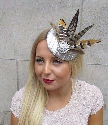 Silver Brown Pheasant Statement Feather Fascinator Pillbox Races Hat Ascot 2577