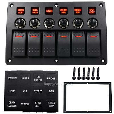 6 Gang LED Rocker Switch Panel Circuit Breakers Charger 12V 24V Car Boat Marine