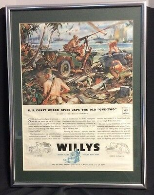 1943 ~ WWII Willys Jeep Ad ~ US Coast Guard @ Guadacanal ~ Professionally Framed