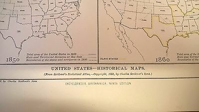 Antique Print 1883 United States Historical Maps 1776-1860