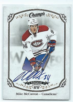 2016 UD Hockey Champs Rookie Autograph Mike McCarron Montreal Canadians
