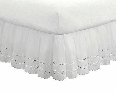 "Eyelet Ruffled Bedskirt – Ruffled Bedding with Gathered Styling – 18"" Drop, Twin"
