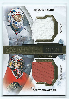 15-16 UD Hockey Premier Dual Jersey Holtby/Capitals + Crawford/Hawks /149