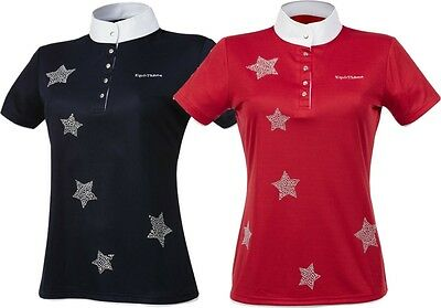 Equi Theme Etoiles Diamante Star Childs Show Competition Shirt Red Navy 98703331
