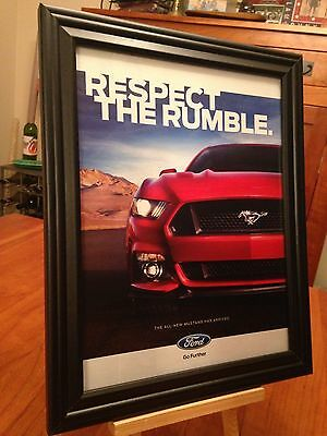 """BIG 10x13 FRAMED ORIGINAL 2015 """"THE ALL-NEW FORD MUSTANG"""" PROMO AD"""