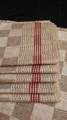 6x old unused red/brown checkered linen kitchen Towels or rustic napkins
