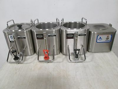 """Lot Of (4) """"amw"""" H.d. Commercial S.s. (3) Coffee Dispensers + (1) Docking Warmer"""
