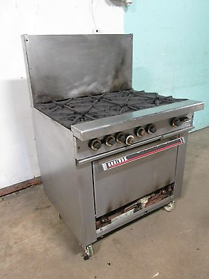 """""""GARLAND H-286"""" COMMERCIAL HD (NSF) NATURAL GAS 6 BURNERS STOVE w/OVEN, CASTERS"""