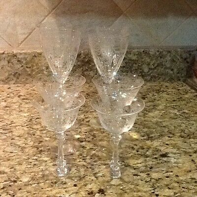 SET 8 ANTIQUE CUT CRYSTAL EtchedGLASS STEM Wine n champagne glasses