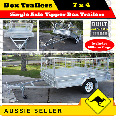 SUPERIOR 7x4 Single Axle Tipper Box Trailers With 600mm Cage / BOXTRAILER