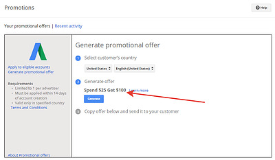 Google Partners Account. Create Google Adwords Promo Code your own.