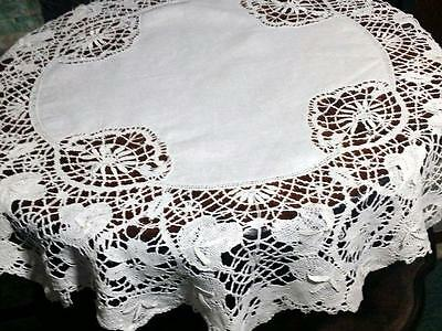 Antique Linen Tablecloth Center Cluny Bobbin Lace Wheat Picot Brides 35""