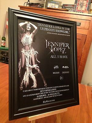 "2 BIG 10x13 FRAMED JENNIFER LOPEZ ""ALL I HAVE"" LP CD LIVE IN LAS VEGAS PROMO ADS"