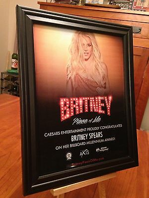 "BIG 10x13 FRAMED BRITNEY SPEARS ""PIECE OF ME"" LIVE IN VEGAS LP ALBUM CD PROMO AD"