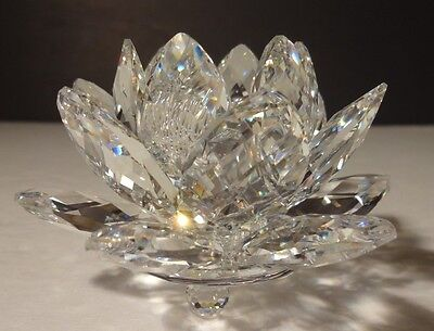 """*VINTAGE* Swarovski Crystal WATER LILY (1985-1988) Small Candle Holder 3"""" 7600"""