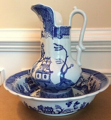 Vintage Victoria Ware Blue Willow Transferware Chamber Pitcher & Basin Ironstone