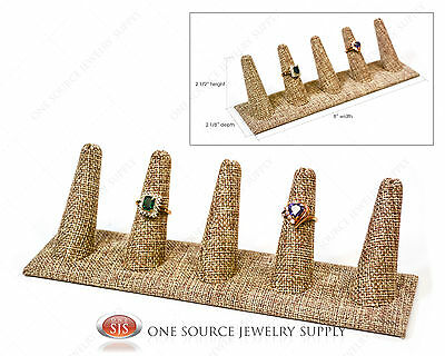 5 Finger Burlap Ring Display Jewelry Display Ring Display Jewelry Presentation