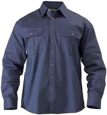 BISLEY Long Sleeve Navy 100% Cotton Workshirt BS6433 Mens Small chest 90cm