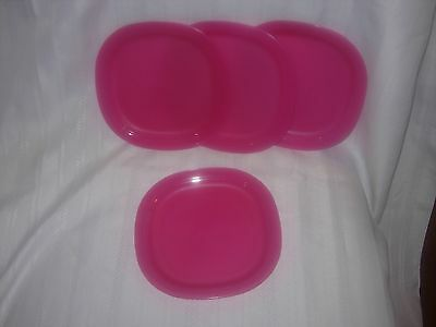 """TUPPERWARE 4pc LEGACY Microwave Dessert/ Snack 8"""" Plates NEW Pink"""