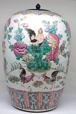 Antique Chinese Lidded Famille Rose Baluster Jar ~ Late 19th Century ~