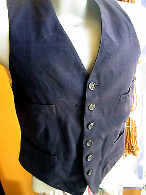 SMALL 38 True vtg 1930s mens ALL WOOL UNION MADE MUTED PLAID BLUE VEST WAISTCOAT