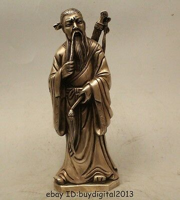 """10""""Chinese Myth Folk Feng Shui Silver Eight Immortals Lv Dong Bin Statue"""