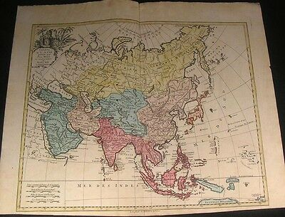 Asia Arabia Augsbourg rare Arab smoking camel elephant cartouche 1790s Walch map
