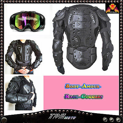 Sport Jacket Motocross MX Body Armour Pressure Suit with Black GOGGLES - Adult