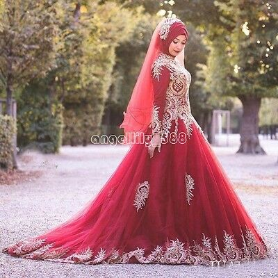 MUSLIM RED GOLD Appliqued Wedding Dress Long Sleeve Plus ...