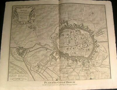 Doway France Fortified Anhalts Attack 1745 antique Basire battle city plan map