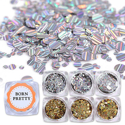 Holographic Glitter Nail Sequins Laser Round Stripe Paillette Flakes Born Pretty