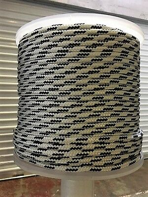 """1/2"""" X 150' Polyester Double Braid, 8,360 lb BS, Boating, Arborist, White/black"""