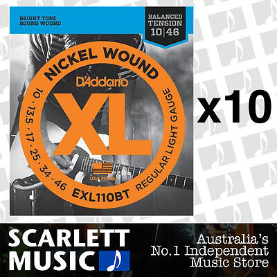 10x D'Addario EXL110BT Balanced Tension Strings 10-46 Daddario *SET OF 10 PACKS*
