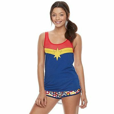 Marvel Comics MS Marvel Tank Top & Shorts Pajama PJ Set Junior Girl's S M L XL