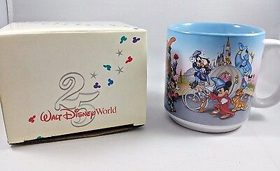 1996 Walt Disney World 25th Anniversary Mug With Many characters, Original box
