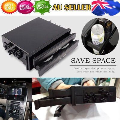 Useful Double Din Radio Pocket Cup Holder + Storage Box for Universal Car truck