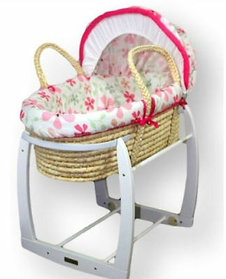MOSES BASKET with rocking stand pink flowers