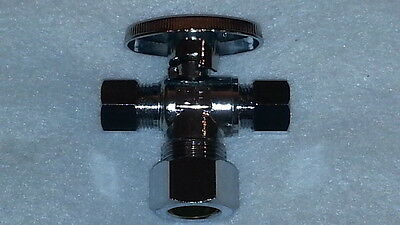 5/8 x 3/8 x 3/8 Dual Outlet 1/4 Turn Ball Valve Angle Supply Stop New LEAD FREE
