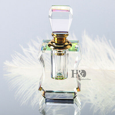 Vintage Crystal Perfume Bottle Empty Refillable Art Bottle Collectible Gifts 3ml