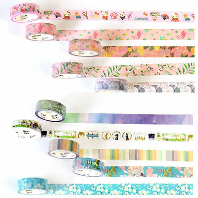 1x Japanese Floral Washi Sticker Decor Roll Paper Masking Adhesive Tape Crafts