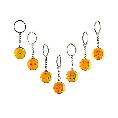 7pcs/set 2.5cm Dragon Ball Z New In Bag 7 Stars Crystal Balls Keychain Pendan...