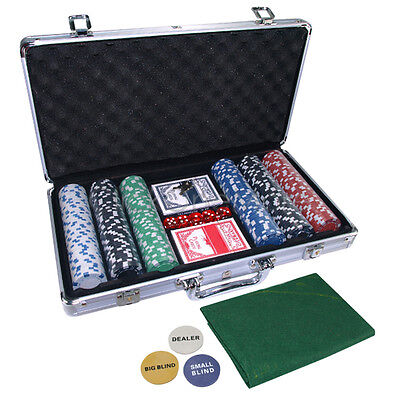 Pro Casino Poker Set 300 Chips with Carry Case and Free Accessories AU