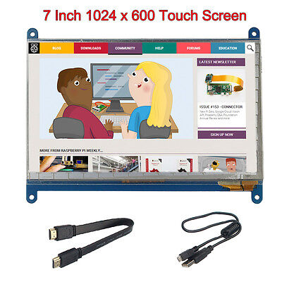 Raspberry Pi 7 Inch 1024*600 Capacitance LCD Touch Screen With HDMI USB Cable